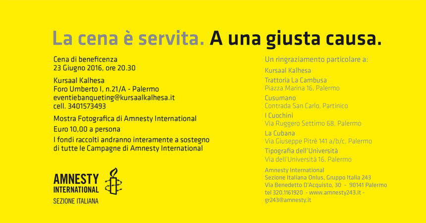 "Cena di beneficenza per Amnesty International ""La Cena è servita. A una giusta causa."" 23 Giugno 2016"