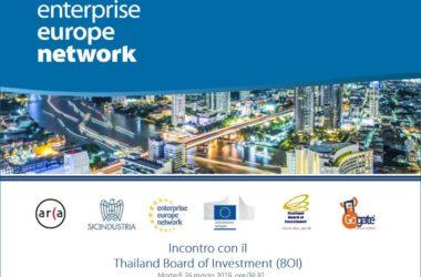 Palermo: incontro con il Thailand Board of Investment (BOI) il 26 marzo